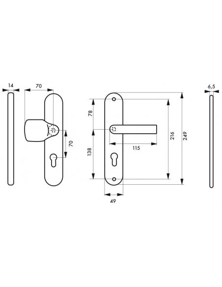 Ensemble de poignées de sécurité palière pour porte d'entrée, béquille et aileron , entr'axes 216mm, anodisé inox - THIRARD P...