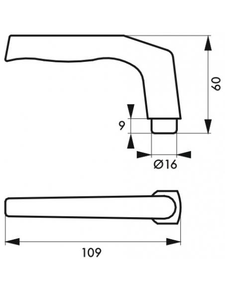 Paire de béquilles pour porte, carré 8mm, argent, 1 portée - THIRARD Poignée