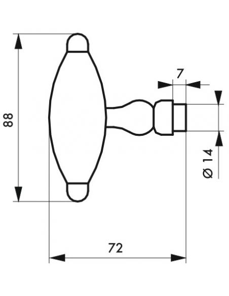 Paire de boutons torsadés T pour porte d'entrée, fer, carré 6mm, 1 portée, noir - THIRARD Poignée