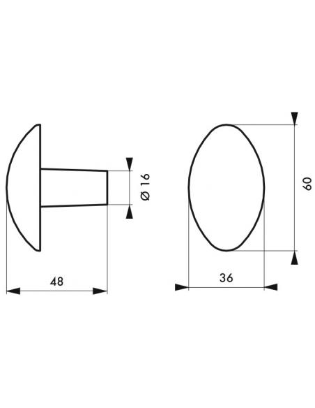 Paire de boutons ovoïdes pour porte d'entrée, carré 7x90mm, 1 portée, fonte peinte, noir - THIRARD Poignée