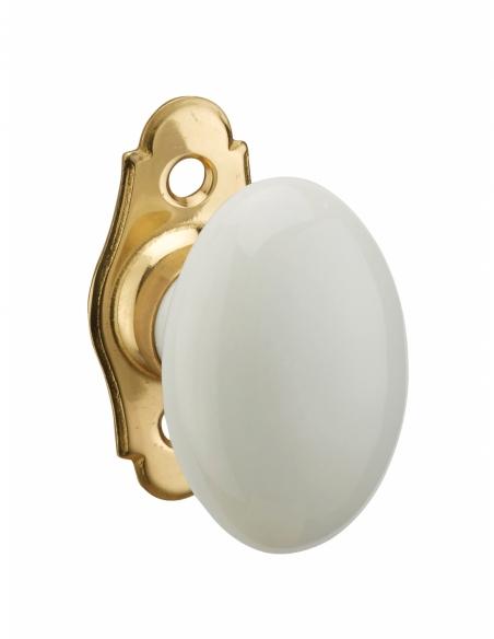 Bouton en porcelaine pour fenêtre, avec vis de pose, laiton poli et blanc - THIRARD Poignée