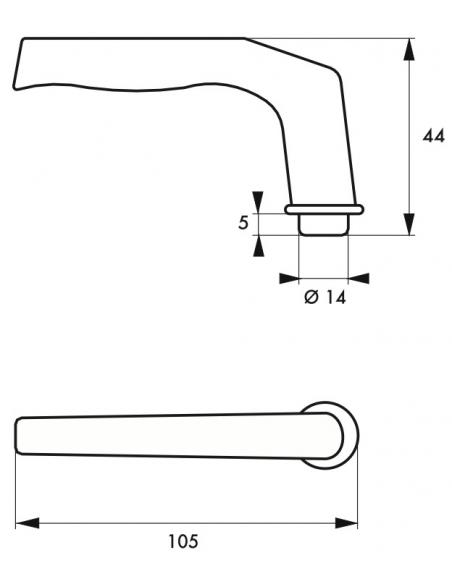 Paire de béquilles Alsace pour porte, carré 8mm, 1 portée, argent - THIRARD Poignée