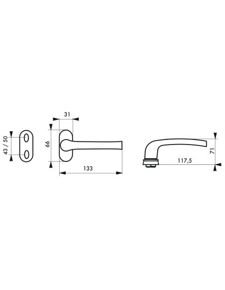 Paire de béquilles pour porte à menuiserie métallique, carré 8mm, blanc - THIRARD Poignée