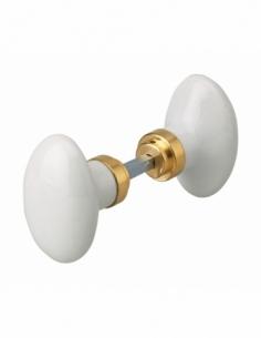 Paire de boutons pour porte, carré 6mm avec fourreau adaptateur carré 7mm, 1 portée, porcelaine, blanc - THIRARD Poignée