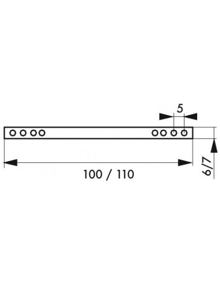 Accessoire carré percé pour porte intérieure, carré 6x100mm - THIRARD Poignée