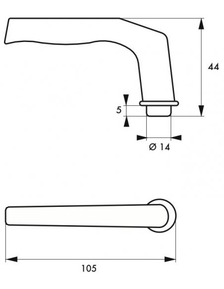 Paire de béquilles pour porte, carré 7mm, 1 portée, alu poli - THIRARD Poignée