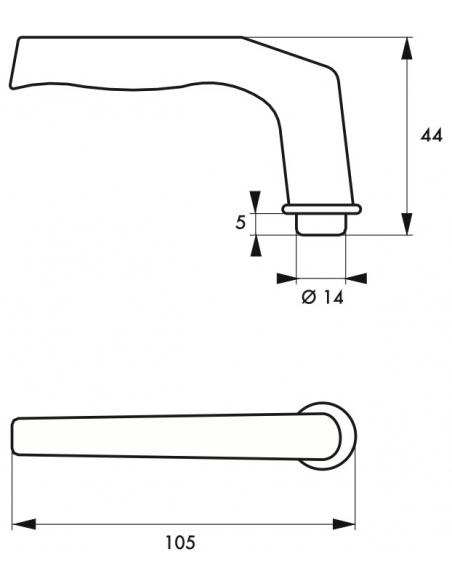Paire de béquilles pour porte, carré 7mm, 2 portées, argent - THIRARD Poignée
