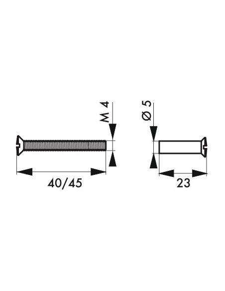 Vis métaux pour porte intérieure, 4x45mm pour laiton avec douille - THIRARD Poignée