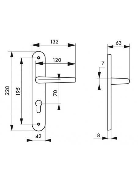 Ensemble de poignées pour porte d'entrée Pelope trou de cylindre, carré 7mm, entr'axes 195mm, argent - THIRARD Poignée
