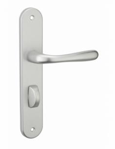 Ensemble de poignées pour porte intérieure Pelope à condamnation, carré 7mm, entr'axes 195mm, argent - THIRARD Poignée
