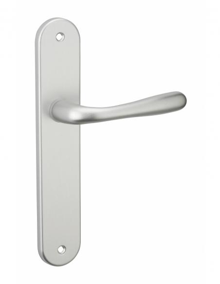 Ensemble de poignées pour porte intérieure Pelope sans trou, carré 7mm, entr'axes 195mm, argent - THIRARD Poignée