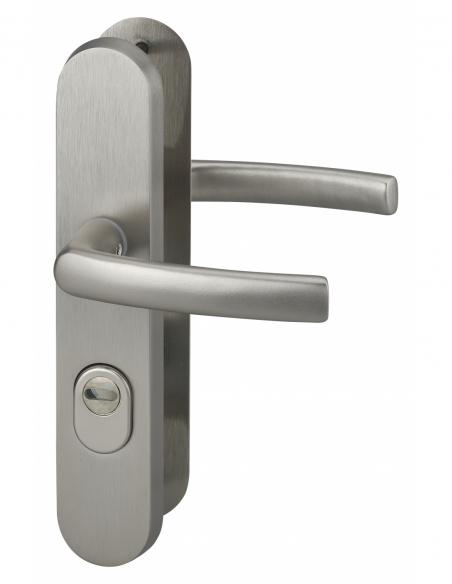 Ensemble poignés de sécurité pour porte d'entrée, béquille double, entr'axe de fixation 216mm, aspect inox - THIRARD Poignée