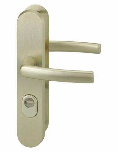 Ensemble poignés de sécurité pour porte d'entrée, béquille double, entr'axe de fixation 216mm, champagne - THIRARD Poignée