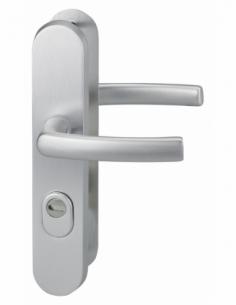 Ensemble poignés de sécurité pour porte d'entrée, béquille double, entr'axe de fixation 216mm, argent - THIRARD Poignée