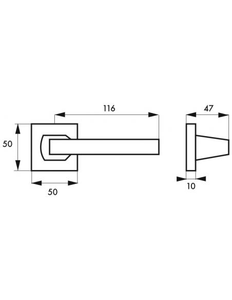 Paire de béquilles Archimede pour porte, carré 7mm, argent - THIRARD Poignée