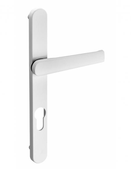 Ensmble de poignées pour porte d'entrée Safir trou de cylindre, entr'axes 195mm, saillie réduite, laqué blanc - THIRARD Poignée