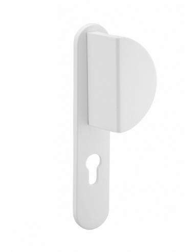 Ensemble de poignées pour porte d'entrée palière Chantilly trou de cylindre, carré 7mm, entr'axes 195mm, blanc - THIRARD Poignée