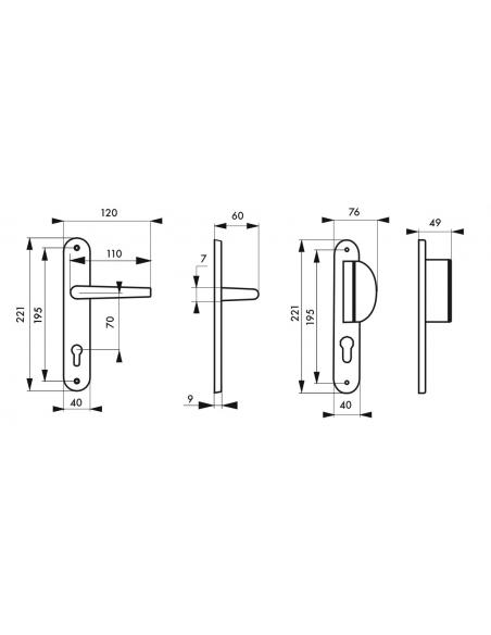 Ensemble de poignées pour porte d'entrée palière Chantilly trou de cylindre, carré 7mm, entr'axes 195mm, anodisé inox - THIRA...