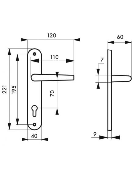 Ensemble de poignées pour porte d'entrée Chantilly trou de cylindre, carré 7mm, entr'axes 195mm, anodisé inox - THIRARD Poignée