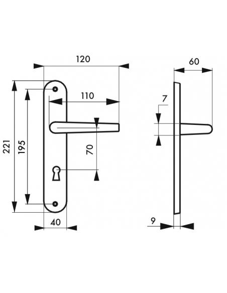 Ensemble de poignées pour porte intérieure Chantilly trou de clé, carré 7mm, entr'axes 195mm, anodisé inox - THIRARD Poignée