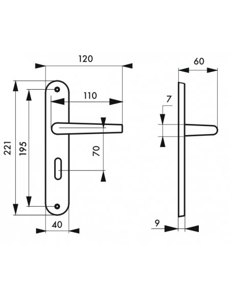 Ensemble de poignées pour porte intérieure Chantilly à condamnation, carré 7mm, entr'axes 195mm, anodisé inox - THIRARD Poignée