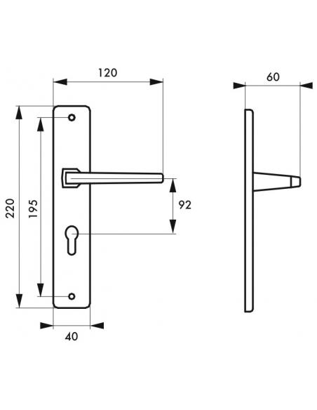 Ensemble de poignées pour porte d'entrée Picardie trou de cylindre, carré 7mm, entr'axes 92mm, couleur F2 - THIRARD Poignée