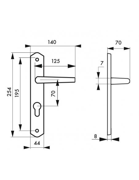 Ensemble de poignées pour porte d'entrée Themis trou de cylindre, carré 7mm, entr'axes 195mm, bois brut - THIRARD Poignée