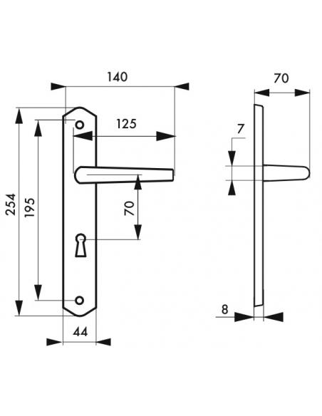 Ensemble de poignées pour porte intérieure Themis trou de clé, carré 7mm, entr'axes 195mm, bois brut - THIRARD Poignée