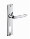 Ensemble de poignées pour porte d'entrée Abbeville trou de cylindre, carré 7mm, entr'axes 165mm, chromé - THIRARD Poignée
