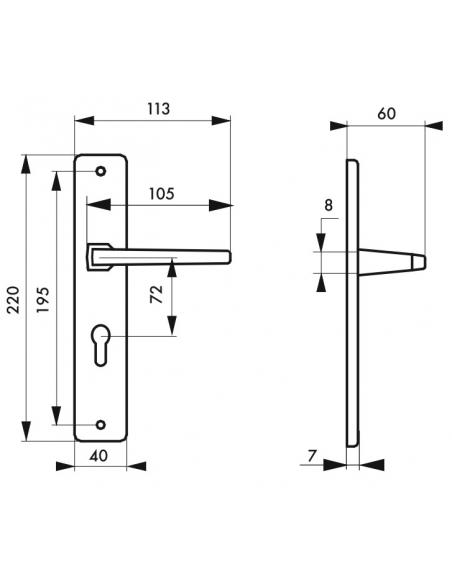 Ensemble de poignées pour porte d'entrée Picardie trou de cylindre, carré 8mm, entr'axes 195mm, couleur F2 - THIRARD Poignée