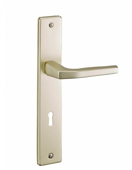 Ensemble de poignées pour porte intérieure Picardie trou de clé, carré 8mm, entr'axes 195mm, champagne - THIRARD Poignée
