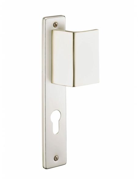 Ensemble de poignées pour porte d'entrée palière Picardie trou de cylindre, carré 7mm, entr'axes 195mm, champagne - THIRARD P...