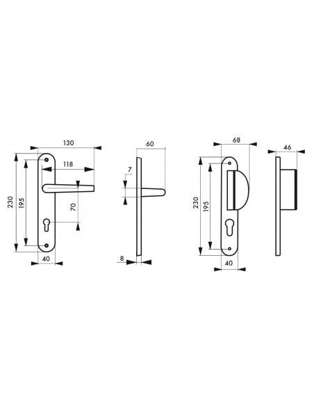Ensemble de poignées pour porte d'entrée palière Crecy trou de cylindre, carré 7mm, entr'axes 195mm, anodisé argent - THIRARD...