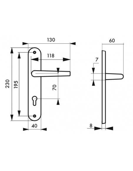 Ensemble de poignées pour porte d'entrée Crecy trou de cylindre, carré 7mm, entr'axes 195mm, anodisé argent - THIRARD Poignée