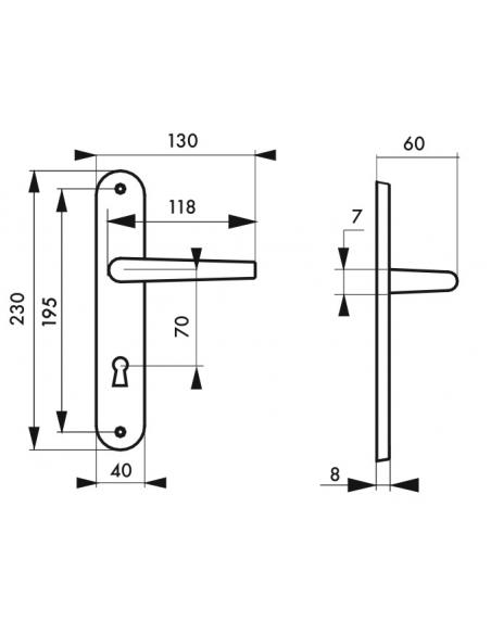 Ensemble de poignées pour porte intérieure Crecy trou de clé, carré 7mm, entr'axes 195mm, anodisé argent - THIRARD Poignée
