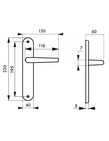Ensemble de poignées pour porte intérieure Crecy sans trou, carré 7mm, entr'axes 195mm, anodisé argent - THIRARD Poignée