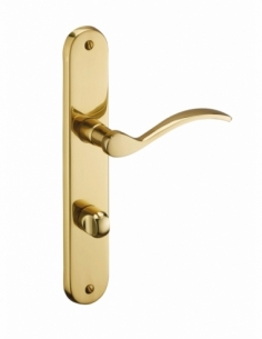Ensemble de poignées pour porte intérieure Marianne sans trou, carré 7mm, entr'axes 195mm, laiton poli - THIRARD Poignée