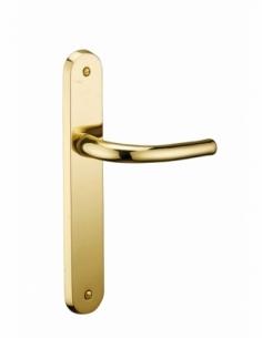 Ensemble de poignées pour porte intérieure Laura trou de clé, carré 7mm, entr'axes 195mm, laiton poli - THIRARD Poignée