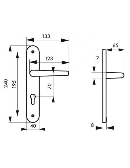 Ensemble de poignées pour porte d'entrée Diane trou de cylindre, carré 7mm, entr'axes 195mm, nickelé brossé - THIRARD Poignée