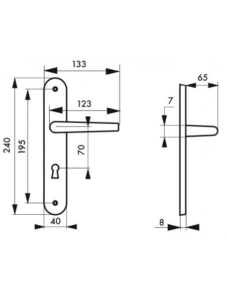 Ensemble de poignées pour porte intérieure Diane trou de clé, carré 7mm, entr'axes 195mm, nickelé brossé - THIRARD Poignée