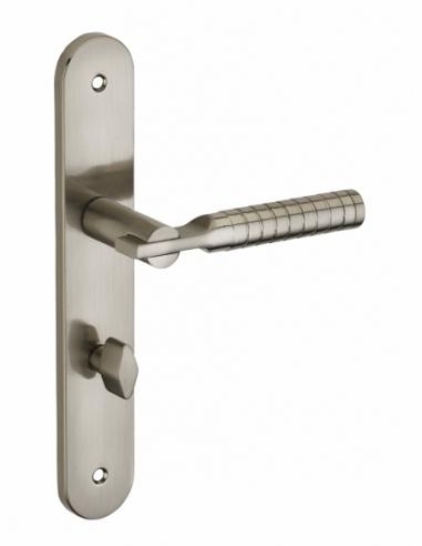 Ensemble de poignées pour porte intérieure Diane à condamnation, carré 7mm, entr'axes 195mm, nickelé brossé - THIRARD Poignée