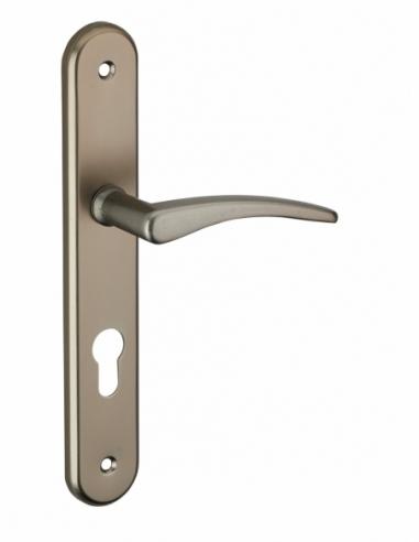 Ensemble de poignées pour porte d'entrée Vesta trou de cylindre, carré 7mm, entr'axes 195mm, nickelé satiné - THIRARD Poignée