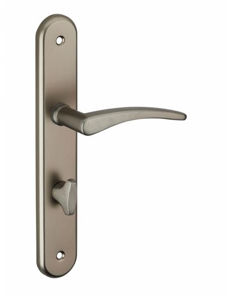 Ensemble de poignées pour porte intérieure Vesta à condamnation, carré 7mm, entr'axes 195mm, nickelé satiné - THIRARD Poignée