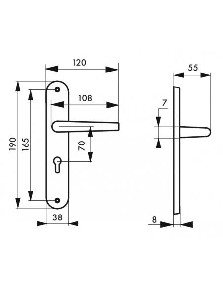 Ensemble de poignées pour porte d'entrée Vesta trou de cylindre, carré 7mm, entr'axes 165mm, nickelé satiné - THIRARD Poignée