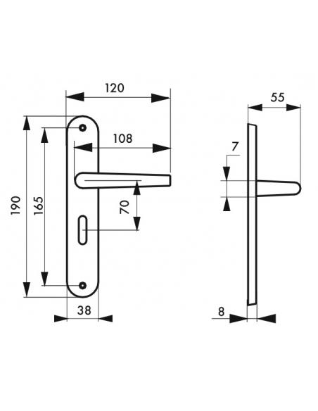 Ensemble de poignées pour porte intérieure Vesta à condamnation, carré 7mm, entr'axes 165mm, nickelé satiné - THIRARD Poignée