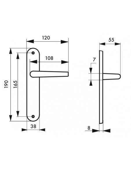 Ensemble de poignées pour porte intérieure Vesta sans trou, carré 7mm, entr'axes 165mm, nickelé satiné - THIRARD Poignée