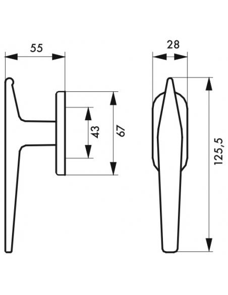 Bouton de fenêtre Leto/Maïa, hauteur 125.5mm, champagne - THIRARD Poignée