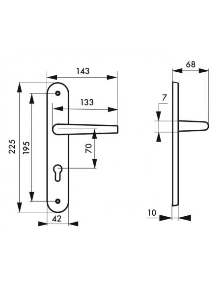 Ensemble de poignées pour porte d'entrée Ouranus trou de cylindre, carré 7mm, entr'axes 195mm, inox brossé - THIRARD Poignée