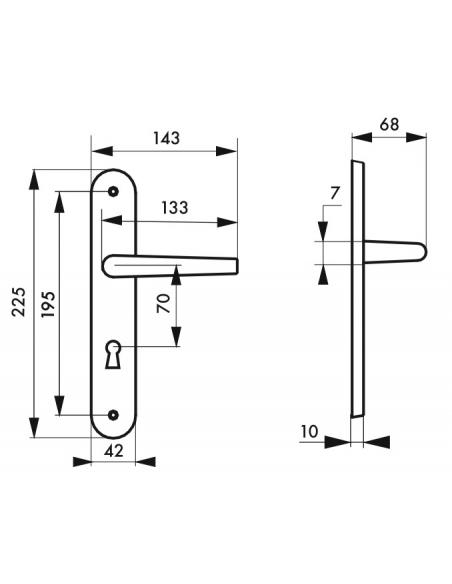 Ensemble de poignées pour porte intérieure Ouranus trou de clé, carré 7mm, entr'axes 195mm, inox brossé - THIRARD Poignée