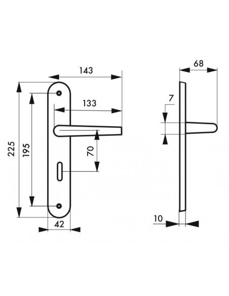 Ensemble de poignées pour porte intérieure Ouranus à condamnation, carré 7mm, entr'axes 195mm, inox brossé - THIRARD Poignée